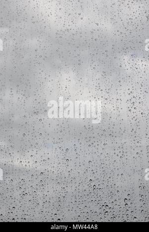 Raindrops on transparent window with cloudy sky background, closeup, copyspace - Stock Photo