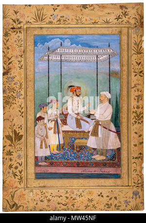 . English: The emperor sits in haloed profile upon a gold-footed throne under a high white canopy, flanked by his three young princes who stand on the left. All are resplendent with opulently bejewelled turbans, necklaces, qatar daggers, and sashes (patkas) against a rounded backdrop of turquoise, perhaps suggesting a globe, as golden light appears on the right. The inscription on this Mughal painting identifies it as a portrait of emperor Jahangir and his three sons, but what we see today are the faces of Shah Jahan (r. 1628-57 CE) and his three eldest sons - Dara Shikoh (1615-59 CE), Shah Sh - Stock Photo