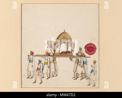 .  English: One of six figures from the Mughal emperor's ceremonial procession on the occasion of the Id  Object:   Painting  Place of origin:   Delhi, India (painted)  Date:   ca. 1840 (painted)  Artist/Maker:   Khan, Mazhar Ali (possibly, maker)  Materials and Techniques:   Gouache on paper  Museum number:   IS.485-1950  Gallery location:   In Storage This Company Painting is from a set of six depicting scenes from the Mughal emperor's ceremonial procession on the occasion of the Muslim Id festival. The painting is possibly by Mazhar Ali Khan and dates from about 1840, during the reign of th - Stock Photo
