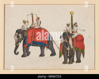 .  English: One of six figures from the Mughal emperor's ceremonial procession on the occasion of the Id.  Object:   Gouache  Place of origin:   Delhi, India (made)  Date:   ca. 1840 (painted)  Artist/Maker:   Mazhar Ali Khan (possibly) (artist)  Materials and Techniques:   Gouache  Museum number:   IS.486-1950  Gallery location:   In Storage  Download image   More information  Map Download PDF version Physical description Two elephants carrying the fish and sun insignia of Mughal sovereignty. One of a set of six images from the Mughal emperor's ceremonial procession on the occasion of Id. Pla - Stock Photo