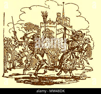 May Day celebrations in Britain, were often accompanied by bonfires, dancing around maypoles and the election of a May Queen - Stock Photo