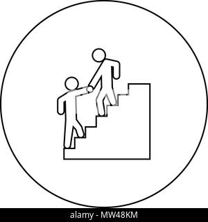 Man helping climb other man black icon in circle outline vector I isolated - Stock Photo