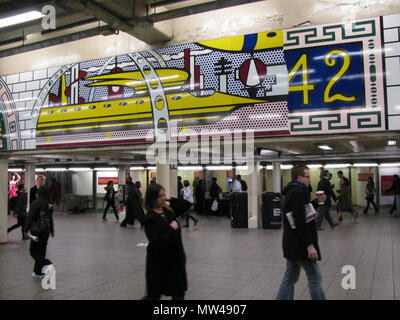 . Times Square Mural . Part of a gorgeous mural by Roy Lichtenstein in the Times Square subway station. 11 November 2011, 10:43.  Eden, Janine and Jim from New York City Uploaded by vcohen 371 Lichtenstein Under Times Square vc - Stock Photo
