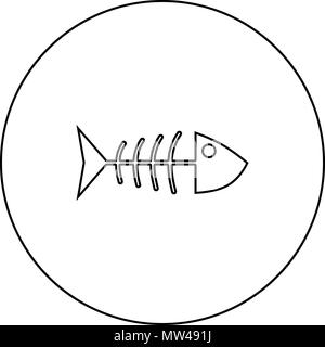 Fish sceleton black icon in circle outline vector I isolated - Stock Photo