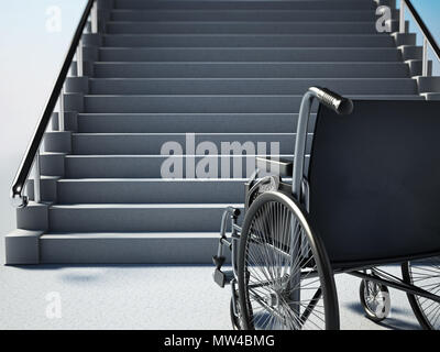 Empty wheelchair standing in front of steep staircase. 3D illustration. - Stock Photo