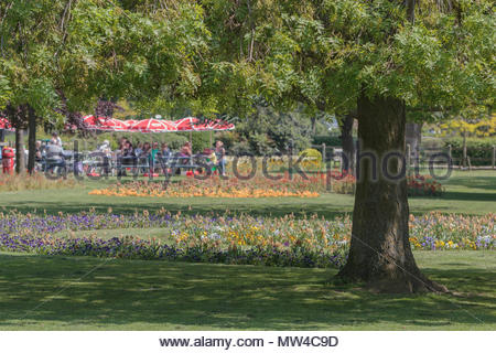 Southchurch Park in Essex UK on a sunny spring day. - Stock Photo