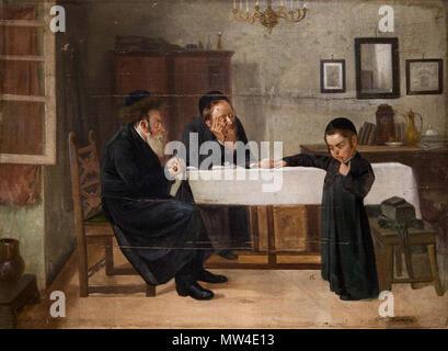 . Interieur mit Rabbiner, Vater und Sohn. Öl auf Leinwand, undeutlich signiert, 73.5 x 100.5 cm 671 Interieur mit Rabbiner Vater und Sohn - Stock Photo