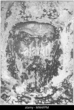 . English: Serbian king Marko Kraljević, second half of the XIV century, fresco from Marko`s monastery near Skoplje, Republic of Macedonia . second half of the XIV century. Unknown Serbian painter 347 Kralj-Marko - Stock Photo