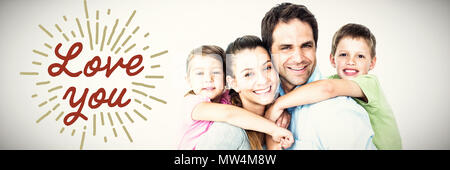 Composite image of portrait of smiling parents giving piggy-back to children - Stock Photo