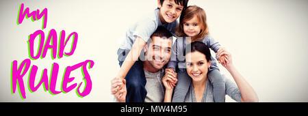 Composite image of parents giving children piggyback rides - Stock Photo