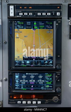 UGANDA, MAF flight, Navigation instrument in small aircraft - Stock Photo