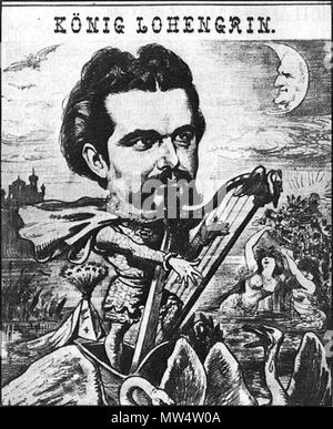 . English: Ludwig II of Bavaria portrayed as 'King Lohengrin' below a moon with the face of composer Richard Wagner. From 'Der Floh' 30.01.1885 . 1885. Anonymous 375 Lohengrin 1885 - Stock Photo