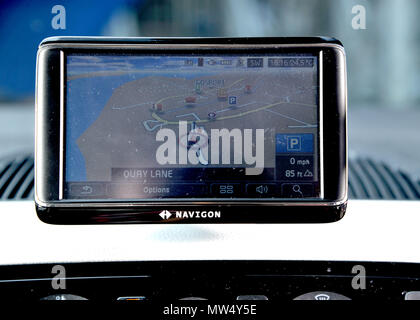 Sat nav built in to a VW Up! city car - Stock Photo