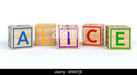 The name alice written with Isolated wooden toy cubes - Stock Photo