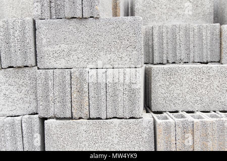 Background of stack concrete block - Stock Photo