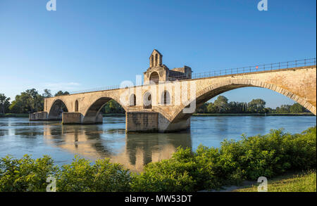 France, Provence region, Avignon city, St. Benezet Bridge, W.H., Rhone river, - Stock Photo
