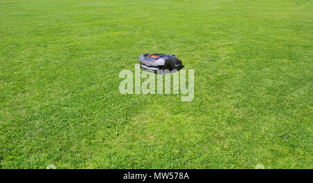 Automatic robot lawnmower mows grass on green lawn - Stock Photo