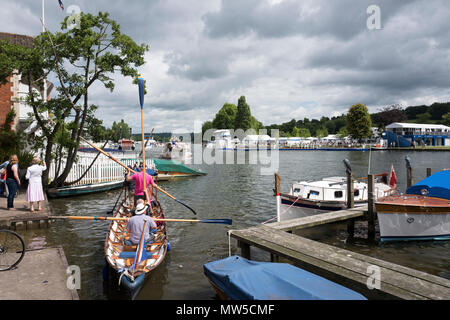 Henley on Thames. United Kingdom.      Sunday,  Waterman's cutter, Lady Penelope. 03/07/2016,      2016 Henley Royal Regatta, Henley Reach. © Peter Sp - Stock Photo