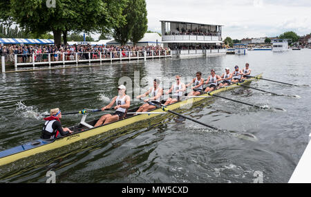 Henley-on-Thames. United Kingdom.  Ladies Challenge  Cup, Brown University passing the progress board. 2017 Henley Royal Regatta, Henley Reach, River  - Stock Photo