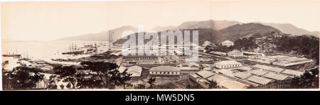 . English: Panorama of the Foochow Arsenal showing the shipyard, harbour, buildings and a building site, Mamoi (now Mawei), near Foochow (now Fuzhou), China . between 1867 and 1871. Unknown 212 Foochow Arsenal - Stock Photo