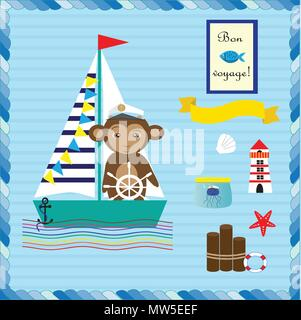 Baby boy shower card with marine elements: anchor, lighthouse and