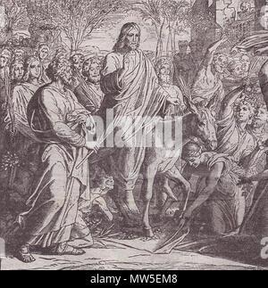 . Svenska: Jesus's triumphal entry into Jerusalem. Woodcut for 'Die Bibel in Bildern', 1860. 1850s. Julius Schnorr von Carolsfeld 314 Jesus entry into Jerusalem - Stock Photo