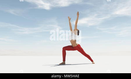 Young woman doing yoga outdoor. This is a 3d render illustration - Stock Photo