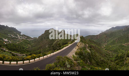 mountain road on tenerife island - Stock Photo