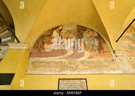 italy, rome, church of sant'onofrio al gianicolo, one of three lunettes by Domenichino, painted in 1605, commemorating the hermits who lived here - Stock Photo