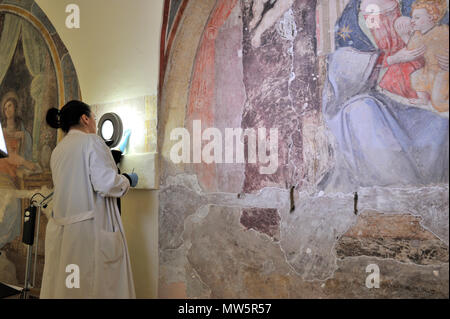 restorations of the frescos (16th century), on the right Madonna del Latte (14th century) in the deconsecrated church of Santa Marta, Rome, Italy - Stock Photo