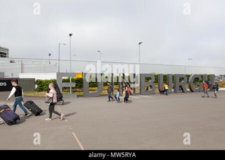 Large Edinburgh lettering sign outside Edinburgh airport, Scotland, UK - Stock Photo