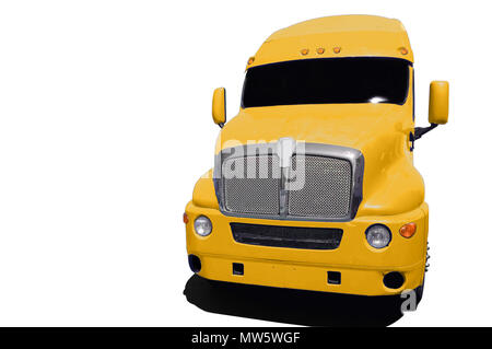 Big yellow semi truck isolated on a white background. - Stock Photo