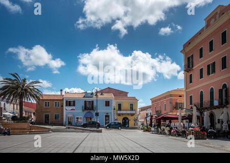 The main square in Santa Teresa Gallura, Sardinia, Italy - Stock Photo
