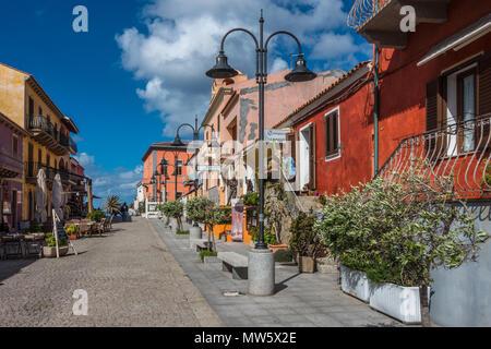 A pretty street with colourful houses in Santa Teresa Gallura, Sardinia, Italy - Stock Photo