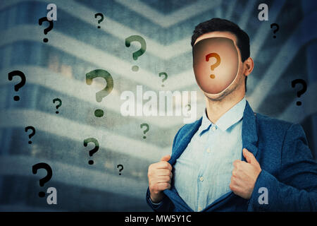 Anonymous businessman with a hole in his head instead face. Question mark inside human faceless head. Fantasy futuristic background, incognito open mi - Stock Photo