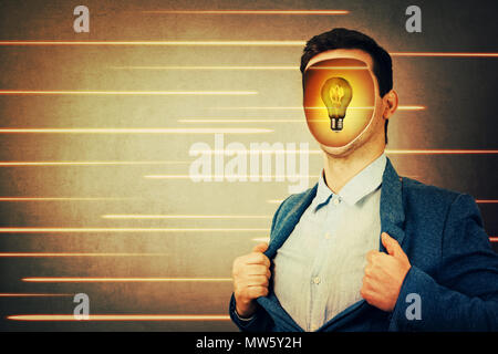 Anonymous businessman with a hole instead face and a light bulb inside head. Fantasy futuristic background human transform into robots. Technology dev - Stock Photo