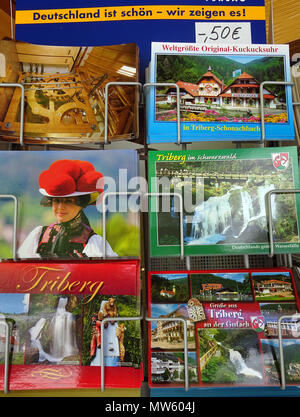 Picture postcards of Black forest at a souvenir shop, Triberg, Black Forest, Baden-Wuerttemberg, Germany, Europe - Stock Photo