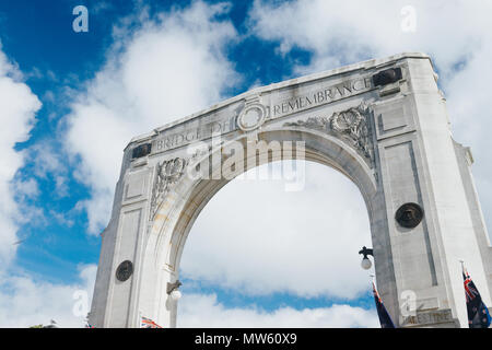 Bridge of Remembrance in the cloudy day. andmark located in Christchurch, New Zealand. - Stock Photo