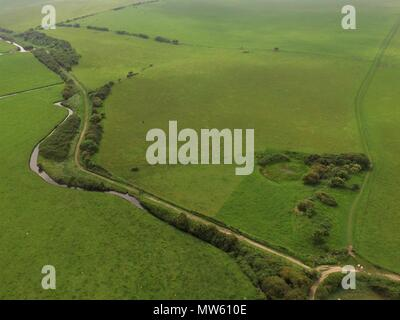 Aerial image over Cuckmere Haven in East Sussex, England. - Stock Photo