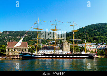 Tall Ships Race Bergen, Norway 2014. Russian four masted barque Kruzenshtern, the world's second largest sail ship. In front of Haakons Hall, other - Stock Photo