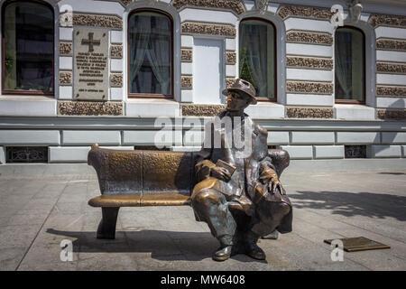 Poet Julian Tuwim, a Polish Jew, statue at Piotrkowska Street in Łódź, Łódzkie, Poland - Stock Photo
