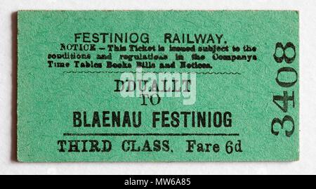Vintage Welsh Ffestiniog Railway Train Ticket - Dduallt to Blaenau Festiniog - Stock Photo