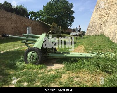 Old guns in the open air military museum in Belgrade fortress - Stock Photo