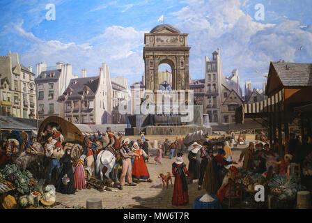 . French: La fontaine des Saints-Innocents au début du XIXè siècle au milieu du marché du même nom. 671 Innocents1822 - Stock Photo