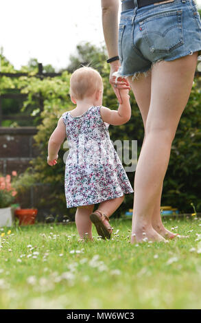 Beautiful Young baby girl toddler at 18 months old with short blonde hair walking in garden - model released Photograph taken by Simon Dack - Stock Photo