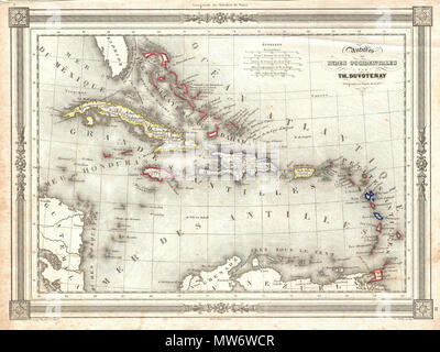 English: An attractive 1852 map of the West Ins by Th ... on map of guiana, map of bahamas, map of south america, map of world, map of colombia, map of nicaragua, map of honduras, map of ecuador, map of canada, map of aruba, map of switzerland, map of puerto rico, map of romania, map of paraguay, map of yemen, map of caracas, map of bolivia, map of greece, map of bonaire,