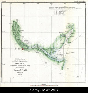 English An Attractive Hand Colored 1854 Us Coast Survey - 1854-us-map