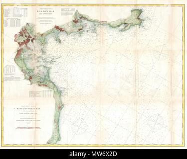 Chart No 10 Boston Bay And Approaches English A Rare 1866 Costal