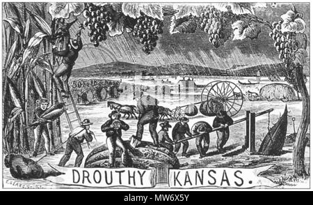 . 'Drouthy Kansas' by Henry Worrall. Oil on canvas. 1869. Henry Worrall (1825-1902) 9 1869 Drouthy Kansas by Henry Worrall KansasStateHistoricalSociety - Stock Photo
