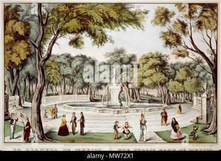 . The Public Park of Mexico  . 1848.    Nathaniel Currier (1813–1888)   Alternative names Nat Currier; N. Currier; Nathaniel T. Currier; Currier  Description American painter  Date of birth/death 27 March 1813 20 November 1888  Location of birth/death Roxbury Amesbury  Work location Philadelphia (1833); New York City (1834)  Authority control  : Q6646654 VIAF:62871001 ISNI:0000 0000 8388 2969 ULAN:500115501 LCCN:n81090785 NLA:35032737 WorldCat 31 Alameda Mexico City 1848 - Stock Photo